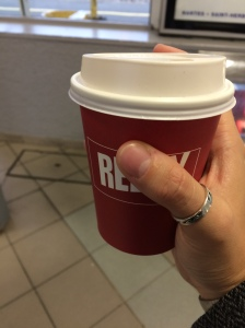 As huge as this French to-go cup is tiny.  It's hard to tell, but it's really tiny.