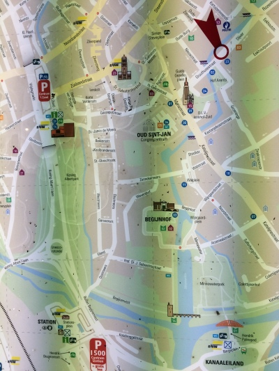 Unless a fuzzy photo of a public display map with bizarre green lines through it counts as a real map. (It doesn't.)