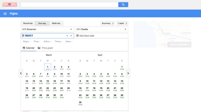google flights calendar search