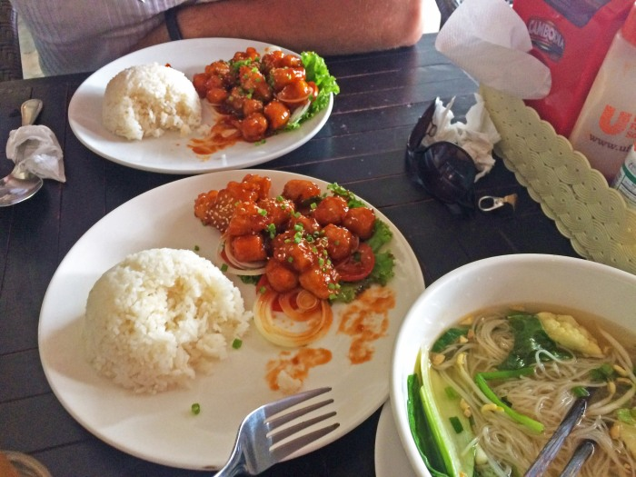 two dishes of cambodian honey chicken